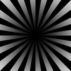 Ilusiones ópticas.  Mira fijamente en el centro del dibujo, y verás como parece que el negro se expande hacia afuera.