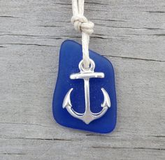 Blue Sea Glass Anchor Nautical Necklace by by WaveofLife on Etsy, $17.00