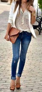 #fall #fashion / polka dot skirt + denim