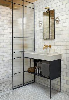 23 Stunning Black Shower Tiles Design Ideas For Bathroom - Home Design - lmolnar - Best Design and Decoration You Need Loft Bathroom, Chic Bathrooms, Modern Bathroom, Small Bathroom, Bathroom Sets, Cream Bathroom, Master Bathroom, Cement Bathroom, Concrete Shower