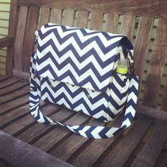 Large Navy Blue Chevron Diaper Bag, Messenger Bag Baby Bag, Large Messenger Diaper Bag with Crossbody Strap