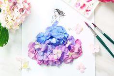 Ilustradora de moda usa pétalas de flores em seus desenhos
