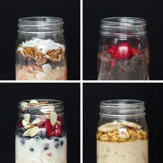 Overnight oats 4 ways oatmeal recipes, snack recipes, breakfast recipes, healthy snacks, Healthy Breakfast Recipes, Healthy Snacks, Healthy Recipes, Oatmeal Breakfast Recipes, Eating Healthy, Fast Breakfast Ideas, Healthy Breakfast On The Go, Snacks Kids, Healthy Yogurt