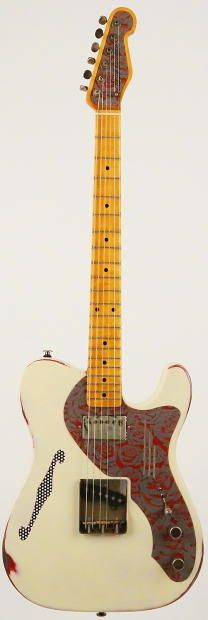James Trussart Deluxe Steelcaster 2010 Cream on Red Roses Engraved | Reverb