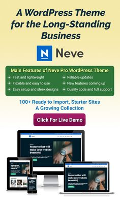 Neve Pro theme is for long-lasting business. It's mobile-first approach, compatibility with AMP and popular page-builders makes your website building more easy and efficient. It has more than 100 starter demo sites for different niches. Responsive Site, Social Share Buttons, Types Of Buttons, Website Layout, Building A Website, Head Start, Premium Wordpress Themes, People Around The World