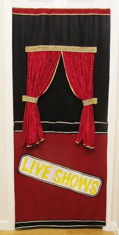 Classic Burgandy, Black and Gold Doorway Puppet Theater. $50.00, via Etsy.