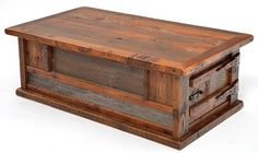 Reclaimed Wood Furniture - Heritage Collection - Coffee Table - Two Doors  Each coffee table has solid wood hand crafted wood hinges and latches.