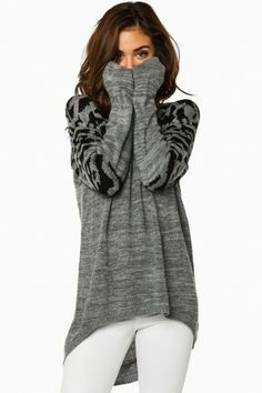 Purrfect Knit Sweater in Grey
