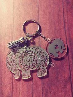mandala elephant keychain with optional baby elephant charm Monogram Keychain, Keychain Design, Vinyl Monogram, Diy Keychain, Keychain Ideas, Diy Resin Crafts, Crafts To Do, Elephant Keychain, Laser Engraved Gifts