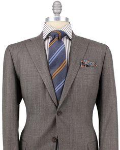 Kiton | Brown Tickweave Suit | Apparel | Men's