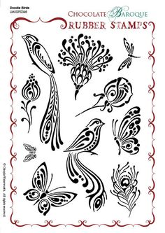 Chocolate Baroque Doodle Birds Rubber Stamp Sheet - Great for card making journaling, mixed media projects Wood Burning Crafts, Wood Burning Patterns, Wood Burning Art, Bird Stencil, Stencil Art, Stencils, Ink Pen Drawings, Doodle Drawings, Doodle Art