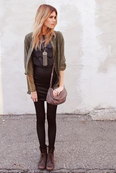 Cute edgy chic get up for fall. Love the khaki jacket & combat boots.