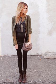 Boyfriend sweater, black leggings, loose tank, dark/neutral colors, cross body... perfect casual fall outfit!