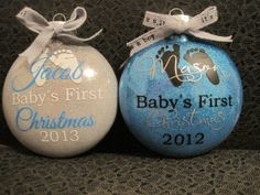 Plastic Baby's First Christmas Ornament by Mycubbyscorner on Etsy, $10.00