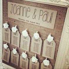 idée plan de table mariage vintage en toile de jute et étiquettes en carton …