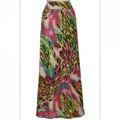 Pink Leopard Rain Forest Maxi Skirt