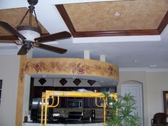 Faux painted ceiling and artwork by Louise Moorman