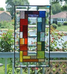 Beveled stained glass panel window geometric rainbow by SGHovel, $129.00