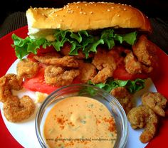 Shrimp Po' Boy w/Spicy Remoulade Sauce. so freaking tasty ! I omitted the celery and capers from the sauce and it was superb. Cajun Recipes, Seafood Recipes, New Recipes, Dinner Recipes, Cooking Recipes, Favorite Recipes, Cajun Food, Creole Recipes, Gourmet