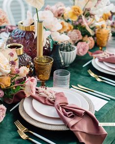 Still fawning over this celestial cape from collection. This season, we love the concept of… Teal And Grey Wedding, Jewel Tone Wedding, Wedding Coral, Pink Table, Table Set Up, Reception Decorations, Table Decorations, Centerpieces, Eclectic Wedding
