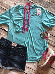 L&B Turquoise pocket T