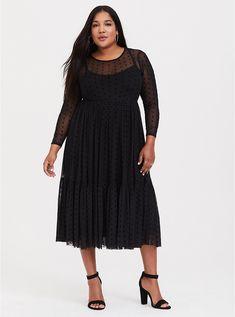 c34887ea7c8 Plus Size Black Dot Mesh Midi Dress
