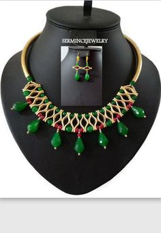 Jade Beaded Bib Statement Necklace Gift by SERMINCEJEWELRY