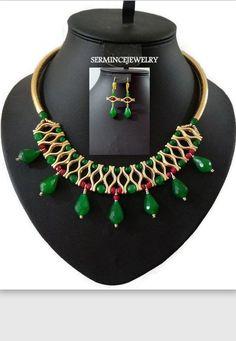 Jade Beaded Bib  Statement Necklace  Gift by SERMINCEJEWELRY