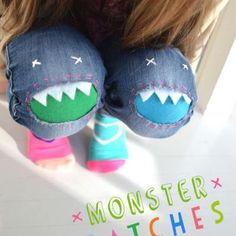 Monster Patches {Kids Clothing My grandson has a pair of jeans the knees are already tore out. This looks so neat