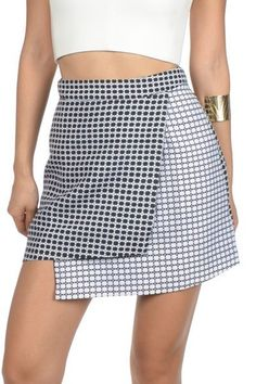 Two Tone Embroidered Asymetrical Skirt