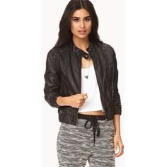 FOREVER 21 Distressed Faux Leather Jacket (€29) ❤ liked on Polyvore featuring outerwear, jackets, leather jackets, outfits, woven jacket, forever 21 jackets, faux-leather jacket, synthetic leather jacket and long sleeve jacket