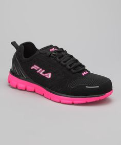 Take a look at this Black & Neon Pink FILA Deluxe Running Shoe by FILA on #zulily today!