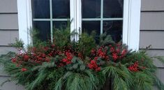 Winter Window Box Ideas Holiday Decorating - About Garden and Flowers Winter Window Boxes, Christmas Window Boxes, Christmas Urns, Christmas Window Decorations, Christmas Arrangements, Rustic Christmas, Christmas Holidays, Christmas Wreaths, Outdoor Christmas Planters