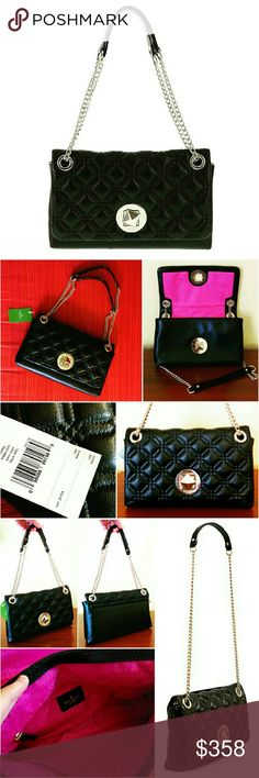 💲279✂Kate Spade Cynthia Astor Court Black Bag ✨Retails at C$428++tax  ⏩Timeless & refined, this bag features rich combination of quilted & pebbled cowhide leather. It's highly well-made & something you will carry for years to come ⏩Flap top turn-lock closure ⏩Polished chain-leather strap can be worn doubled-up or used as longer, single strap by pulling 1 side through the grommet  ⏩Interior➖1 zip pocket,2 slip pocket,fully lined ⏩This luxurious bag is subtle yet elegant & perfect for…