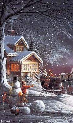 Christmas Poster, Christmas Scenes, Vintage Christmas Cards, Country Christmas, Christmas Pictures, Christmas Greetings, Winter Christmas, Merry Christmas, Illustration Noel