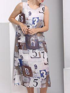 Casual Silk H-line Sleeveless Crew Neck Midi Dress
