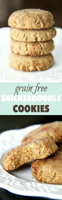 Grain Free Snickerdoodles have the same soft texture and buttery cinnamon sugar taste of a classic snickerdoodle, but are made without flour, butter, eggs, or refined sugar! Gluten Free Sweets, Paleo Dessert, Vegan Desserts, Healthy Desserts, Dessert Recipes, Paleo Baking, Gluten Free Baking, Baking Recipes, Real Food Recipes