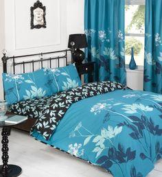 03pcs Reversible Duvet Cover with Pillow Case Bedding Set Size King Design Sophie Teal