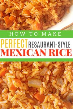 Mexican Rice Recipe A recipe for authentic restaurant-style Mexican rice Plus rice cooking basics and tips including the difference between boiling and simmering water timing and allowing the rice to rest Tex Mex Side Dish Mexican Side Dish Recipe Authentic Mexican Recipes, Mexican Rice Recipes, Rice Recipes For Dinner, Mexican Cooking, Side Dish Recipes, Mexican Side Dishes, Rice Side Dishes, Food Dishes, Cheap Side Dishes