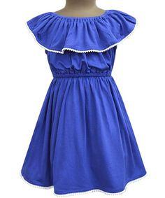 Royal Blue & White Celia Dress - Infant & Toddler