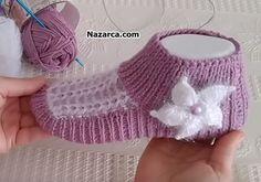 UYGULAMALI VİDEOLU HANIMLARA PATİK TARİFİ | Nazarca.com Crochet Tote, Crochet Shoes, Tunisian Crochet, Easy Crochet, Free Crochet, Crochet Flower Tutorial, Crochet Flowers, Baby Knitting Patterns, Crochet Patterns