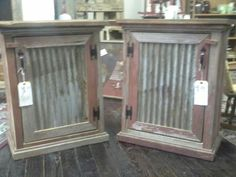 Tin and barn wood cabinet