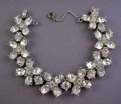 Bogoff Rhodium Plated Rhinestone BraceletCirca: Late 1940s/Early 1950s  Bogoff bracelets are harder to find than other pieces by this manufacturer
