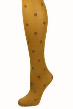 Polka Dot Tights in Caramel $12.99 // via www.spottedmoth.com #tights #mustard #polkadot