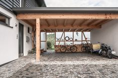 Holzhäuser - Lerchenmüller Holzbau GmbH You are in the right place about patio seating Here we offer Hall Interior Design, Carriage Doors, Garage Addition, Patio Makeover, Patio Lighting, Patio Seating, Diy Garden Decor, Garden Ideas, The Ranch