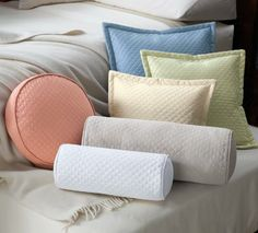 Medium Bolster: Dove. Quilted Twill Pillow Covers
