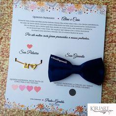 Convite para Padrinhos com gravata borboleta e pulseira com coração e inicial. Cores das Gravatas: Azul Marinho, Azul Royal, Rosa, Marsala, Bege, Tiffany, Rosê, Preta, Cinza, Vermelha, Lilás. Após a compra você receberá um formulário para o preenchimento de todos os detalhes, como: cor da gravata, iniciais para a pulseira e nome dos padrinhos. Mais Informações pelo Whatsapp: 11 98151-0787