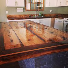 DIY countertops rustic barn board