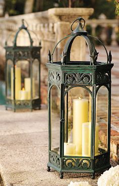 Renaissance Garden Lanterns with spruce figs inside to give festive flair for a Christmas lantern. They welcome guests as they light the entry ways with a warm glow. Garden Lanterns, Lanterns Decor, Candle Lanterns, Pillar Candles, Fall Lanterns, Renaissance Wedding, How To Make Lanterns, Outdoor Lighting, Outdoor Decor