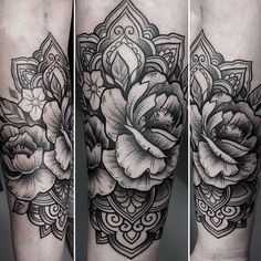 Combine flower and fine line work tattoo. peony tattoo mandala